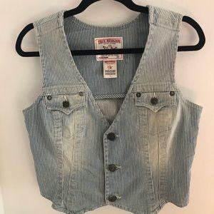 True Religion Striped Jean Vest sz L Denim Blue